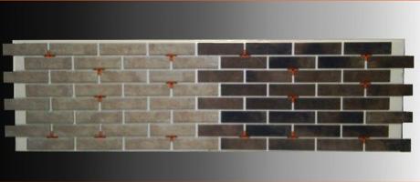 расположение плитки на панели «ТеплыйФасад» с наглядным примером стыковки двух разноцветных панелей